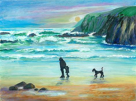 Walking With Grandpa - painting by Veronica Rickard