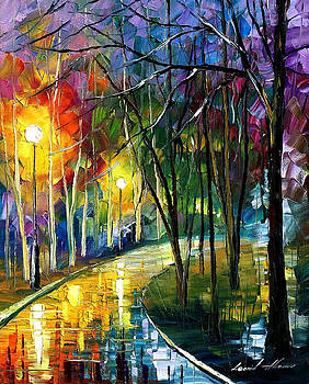 Walkway In The Park - PALETTE KNIFE Oil Painting On Canvas By Leonid Afremov by Leonid Afremov