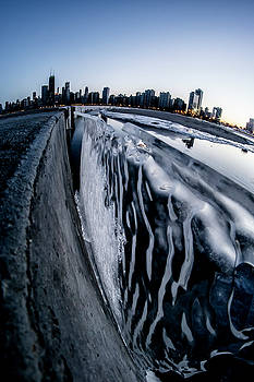 Wall of Ice and Chicago Skyline at dusk  by Sven Brogren