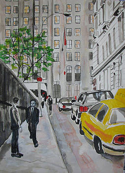 Wall Street by the Church by Lucille Femine