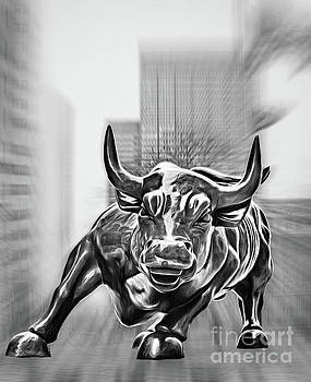 Wall Street Charging Bull Black and White 2 by Nishanth Gopinathan