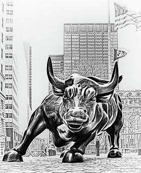 Wall Street Charging Bull Black and White 3 by Nishanth Gopinathan