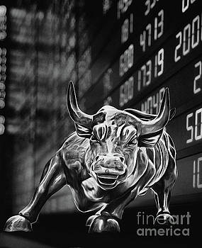 Wall Street Charging Bull Black and White 5 by Nishanth Gopinathan