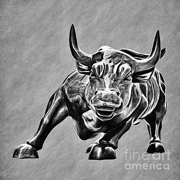 Wall Street Charging Bull Black and White by Nishanth Gopinathan