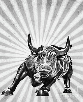 Wall Street Charging Bull Black and White Sunburst by Nishanth Gopinathan