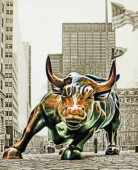 Wall Street Charging Bull Sepia 2 by Nishanth Gopinathan