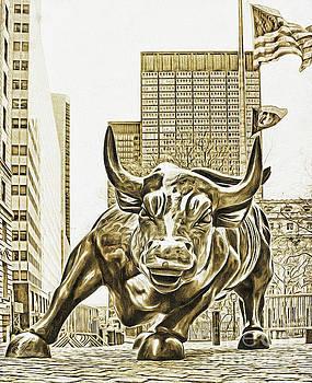 Wall Street Charging Bull Sepia by Nishanth Gopinathan