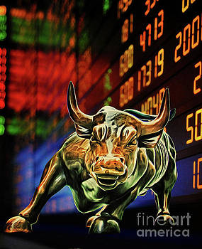 Wall Street Charging Bull Stock Exchange Ticker by Nishanth Gopinathan