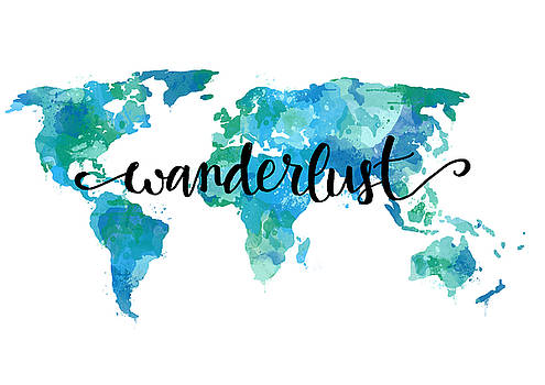 Wanderlust Teal World Map by Michelle Eshleman