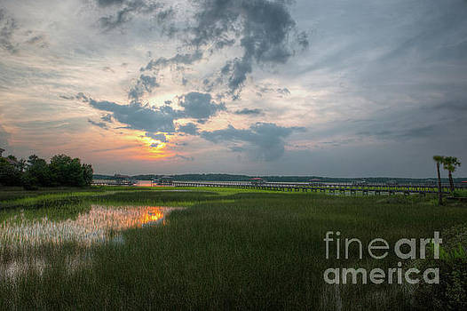 Wando River Marsh Sunset in Mount Pleasant SC by Dale Powell