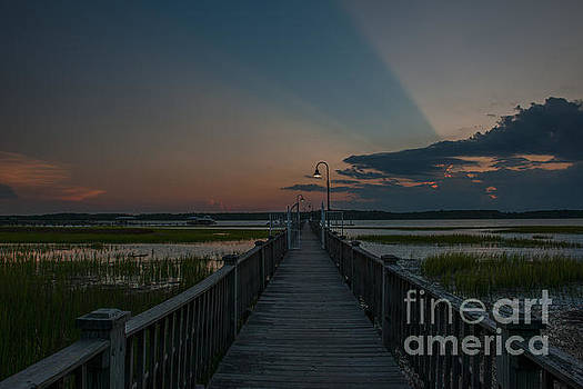 Dale Powell - Wando River Sunset Light Beams