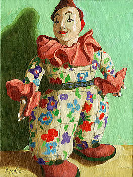 War Clown- still life oil painting by Linda Apple