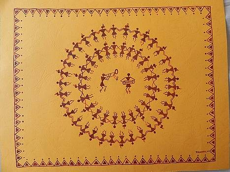 Warli painting Indian tribble art by Janhavi Firke