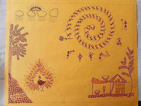 Warli painting Indian trible art by Janhavi Firke