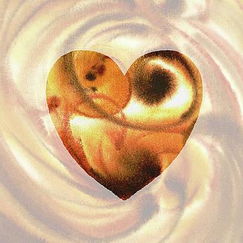 Irina Sztukowski - Warm And Fuzzy Heart Watercolor Silhouette