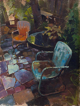 Warm Chairs Wet Patio by Patrick Saunders