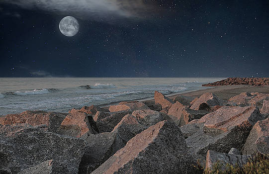Warm Moonrise At For Fisher by Phil Mancuso