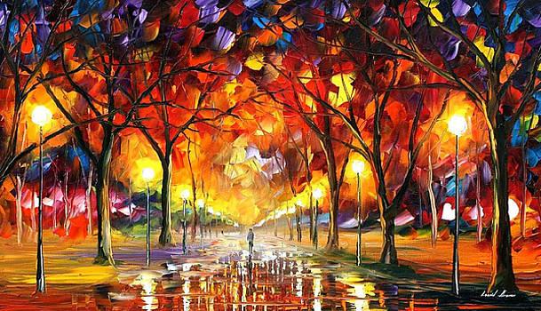 Warm Rain Drops - PALETTE KNIFE Oil Painting On Canvas By Leonid Afremov by Leonid Afremov