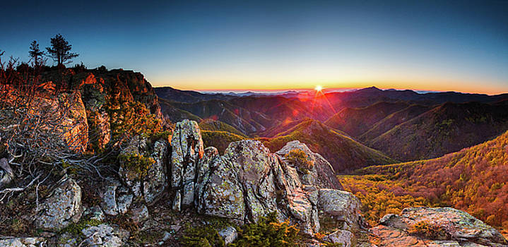 Warm sunlight at sunrise in the mountain by Evgeni Dinev