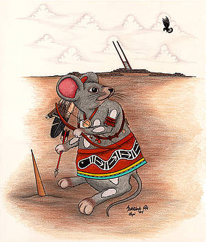 Warrior Mouse Kachina by Alfred Dawahoya