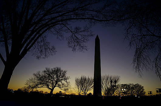 Washington Monument at Twilight with Moon by Art Whitton