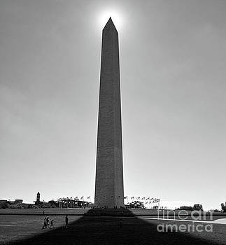 Washington Monument with Sun, Washington DC by Kimberly Blom-Roemer
