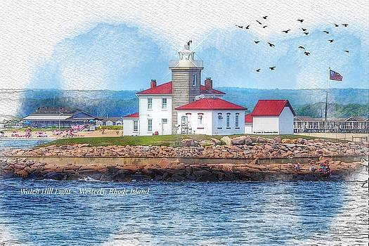 Watch Hill Lighthouse in Westerly, Rhode Island by Linda Ouellette
