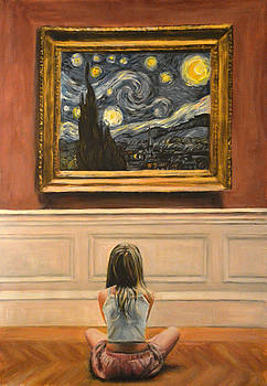 Watching starry night by van gogh by Escha Van den bogerd