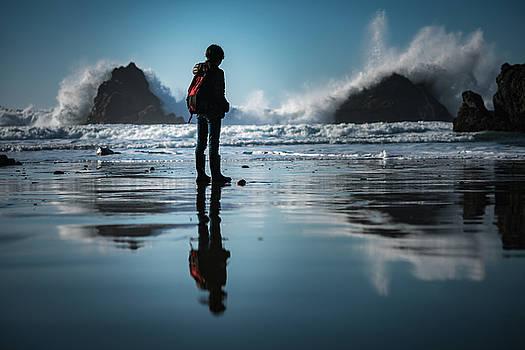 Watching the raging ocean waves by William Lee