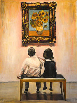 Watching Van Gogh Sunflowers    2 kids watching the famous sunflower painting by van gogh in the mus by Escha Van den bogerd