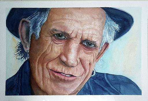 Water color Keith Richards by Richard Benson