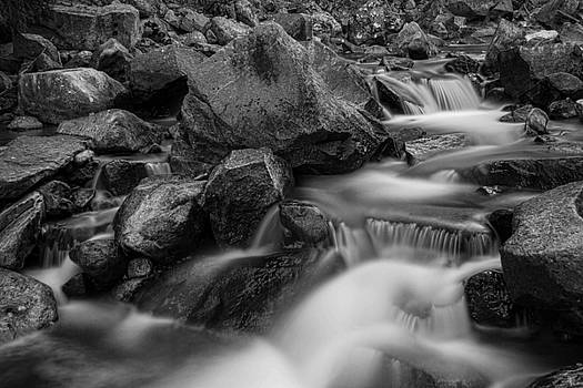 James BO  Insogna - Water Falling On Boulder Creek in Black and White