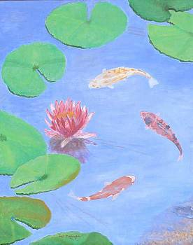 Water Lilies and Koi Fish by Thi Nguyen