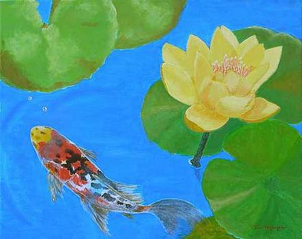 Water Lilies and Lone Koi fish by Thi Nguyen