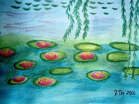 Water lilies by Claude Monet-reproduction by Zornitsa Tsvetkova