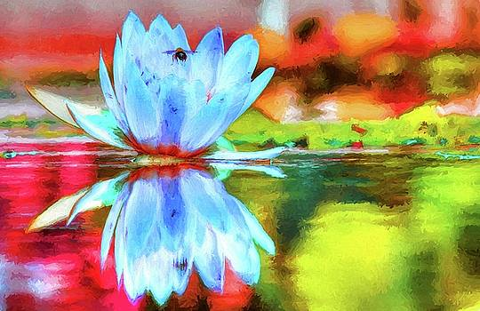 Water Lily And Bee Pastel by Carol Montoya