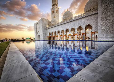 Water Sunset Temple by John Swartz