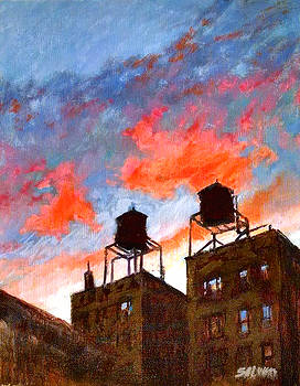 Water Towers at Sunset No. 1 by Peter Salwen