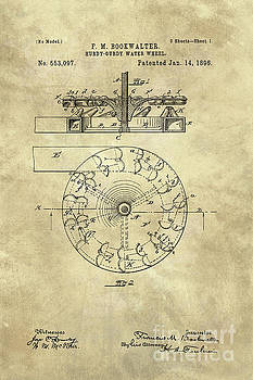 Tina Lavoie - Water Wheel Hurdy Gurdy vintage blueprint patent drawing 1896