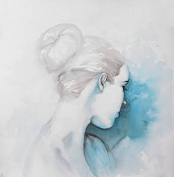 Watercolor Abstract Girl with Hair Bun by Atelier B Art Studio