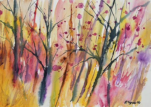 Watercolor - Autumn Forest Impression by Cascade Colors
