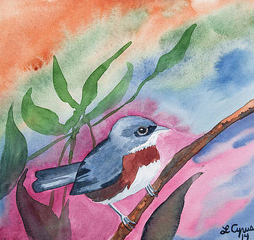 Watercolor - Bird with Colorful Background by Cascade Colors