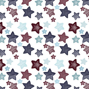 Watercolor Blue Red Stars by P S