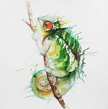 Watercolor Chameleon by Atelier B Art Studio