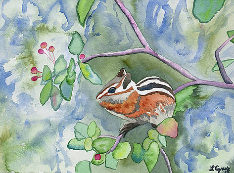 Watercolor - Chipmunk Eating Berries by Cascade Colors