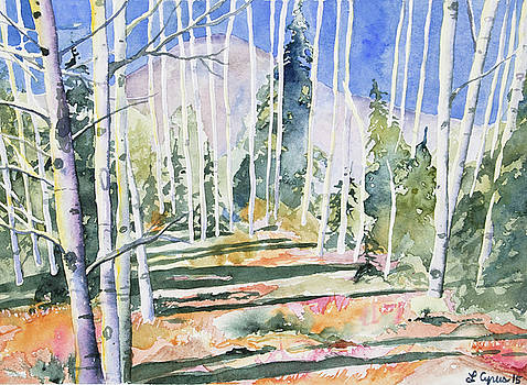 Watercolor - Colorado Aspen and Mountain Landscape by Cascade Colors