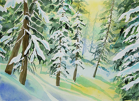 Watercolor - Colorado Winter Tranquility by Cascade Colors