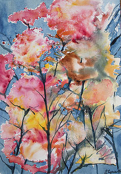 Watercolor - Colorful Plant Life Impression by Cascade Colors