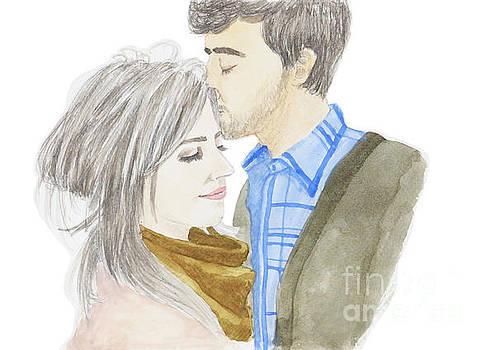 Watercolor couple in love by Rasirote Buakeeree