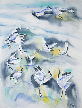 Watercolor - Crane Ballet by Cascade Colors